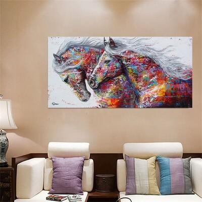 Canvas Running Horse Art Print Paintings Frameless Wall Poster