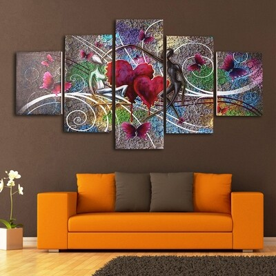 Abstract Love Butterfly Art Canvas Printed Decor Unframed