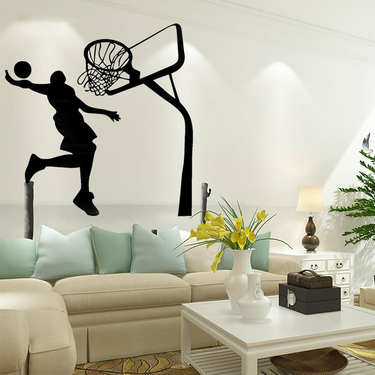 Wall Sticker Basketball Dunk Sport Art Decor Decals Removable