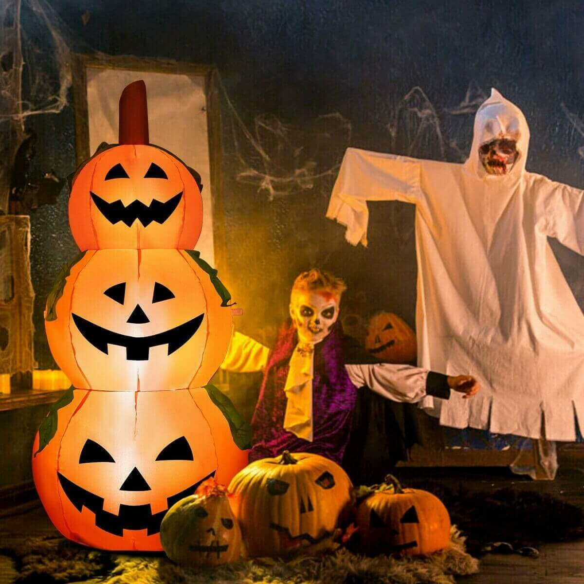 5 Ft Halloween Inflatable 3-Pumpkin Stack Ghost