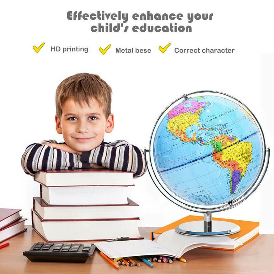 "12"" World Globe 720° Rotating Desktop Geographic for Kids"