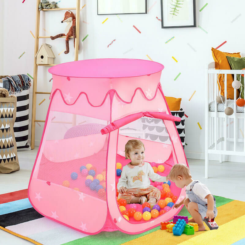 Pink Portable Kid Play House Play Tent with 100 Balls