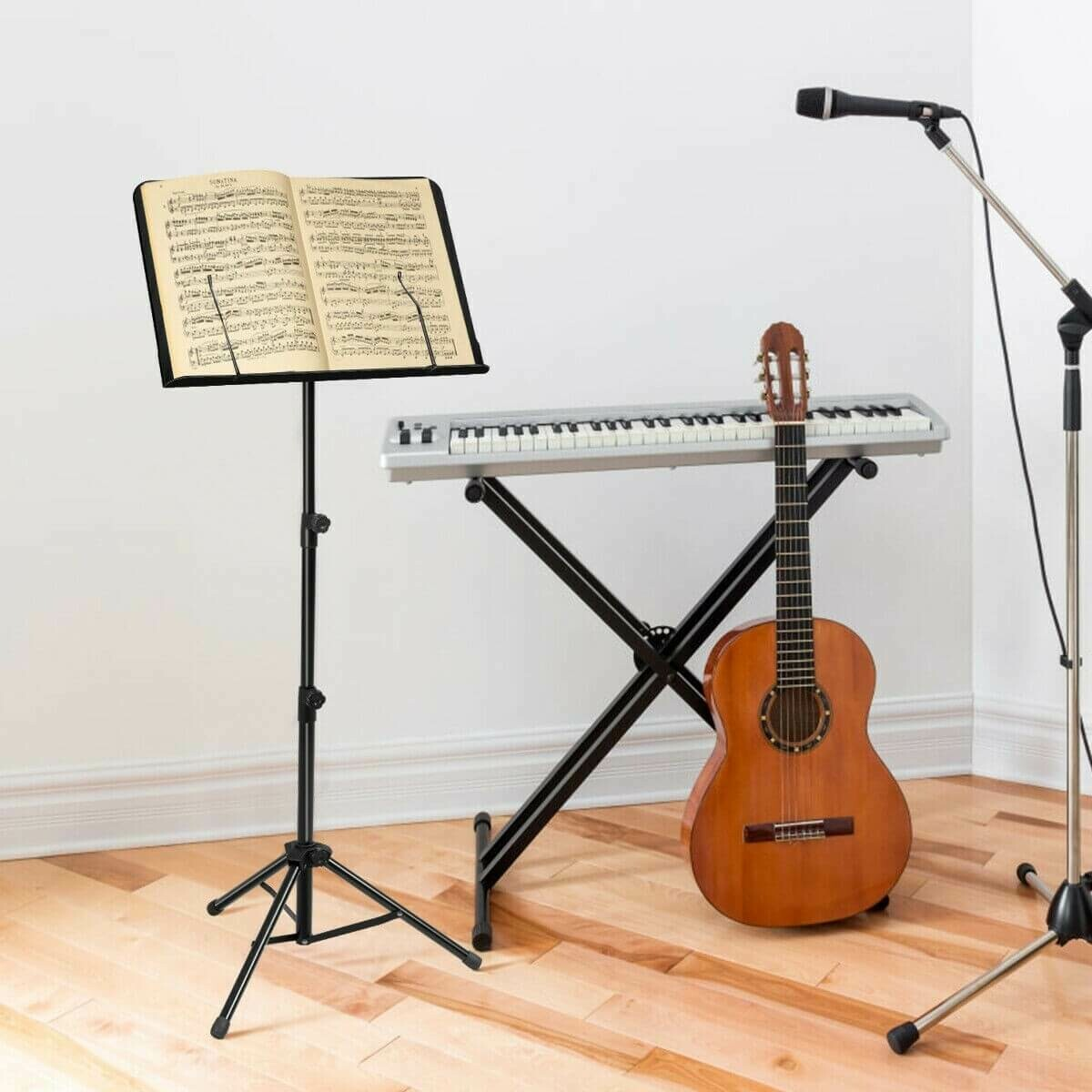 Adjustable Music Stand with Clip Holder and Carry Bag