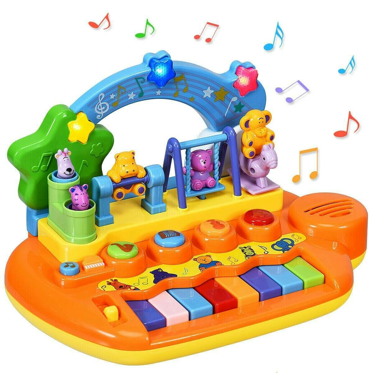 Kids Rainbow Piano Keyboard with Animal Playground LED Light 8 Keys