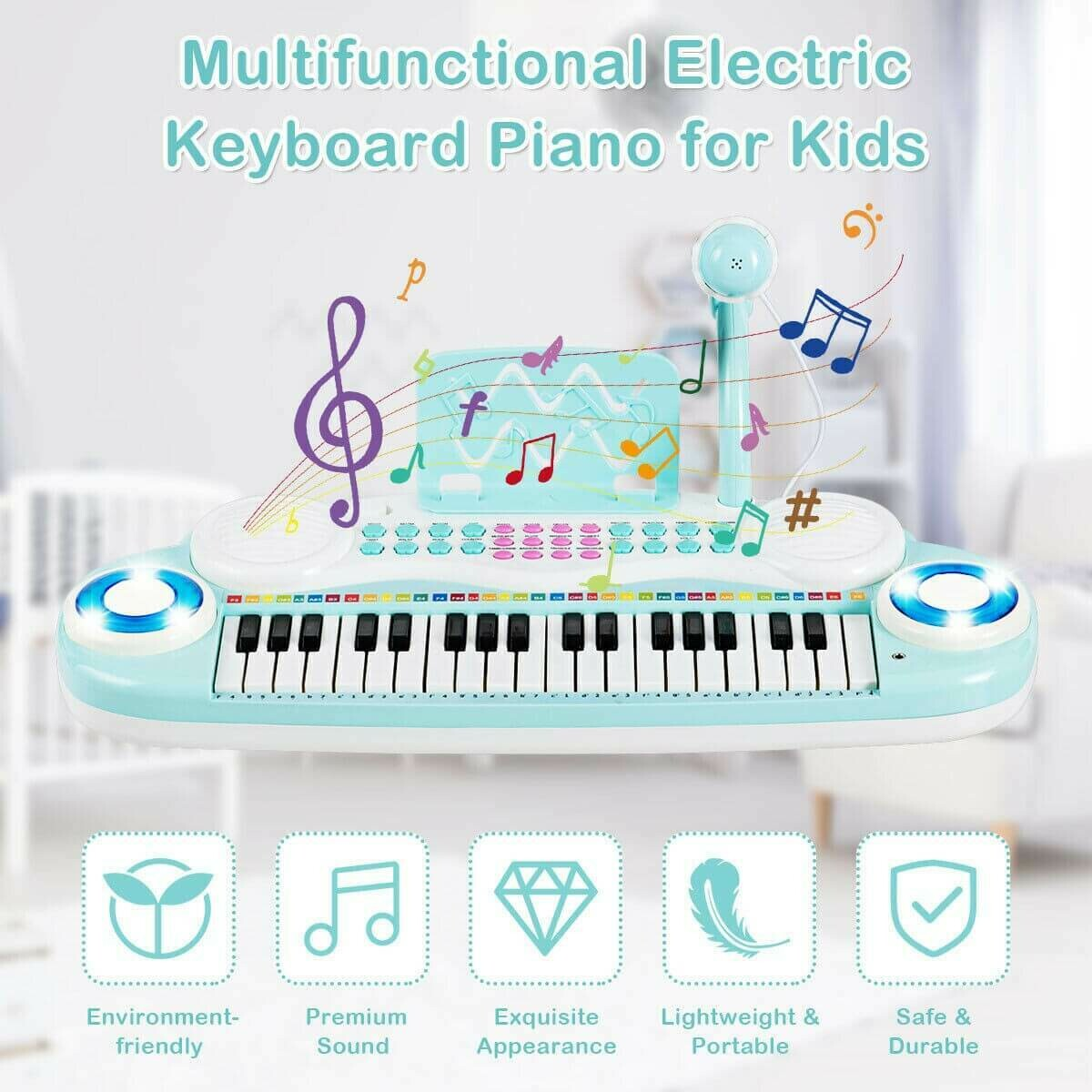 37 Electric Keyboard Piano with Microphone