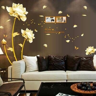 Gold Flower Decal Mural PVC Wall Sticker Room Decor