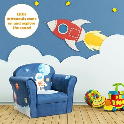 Kids Sofa Astronaut Armrest Upholstered Couch