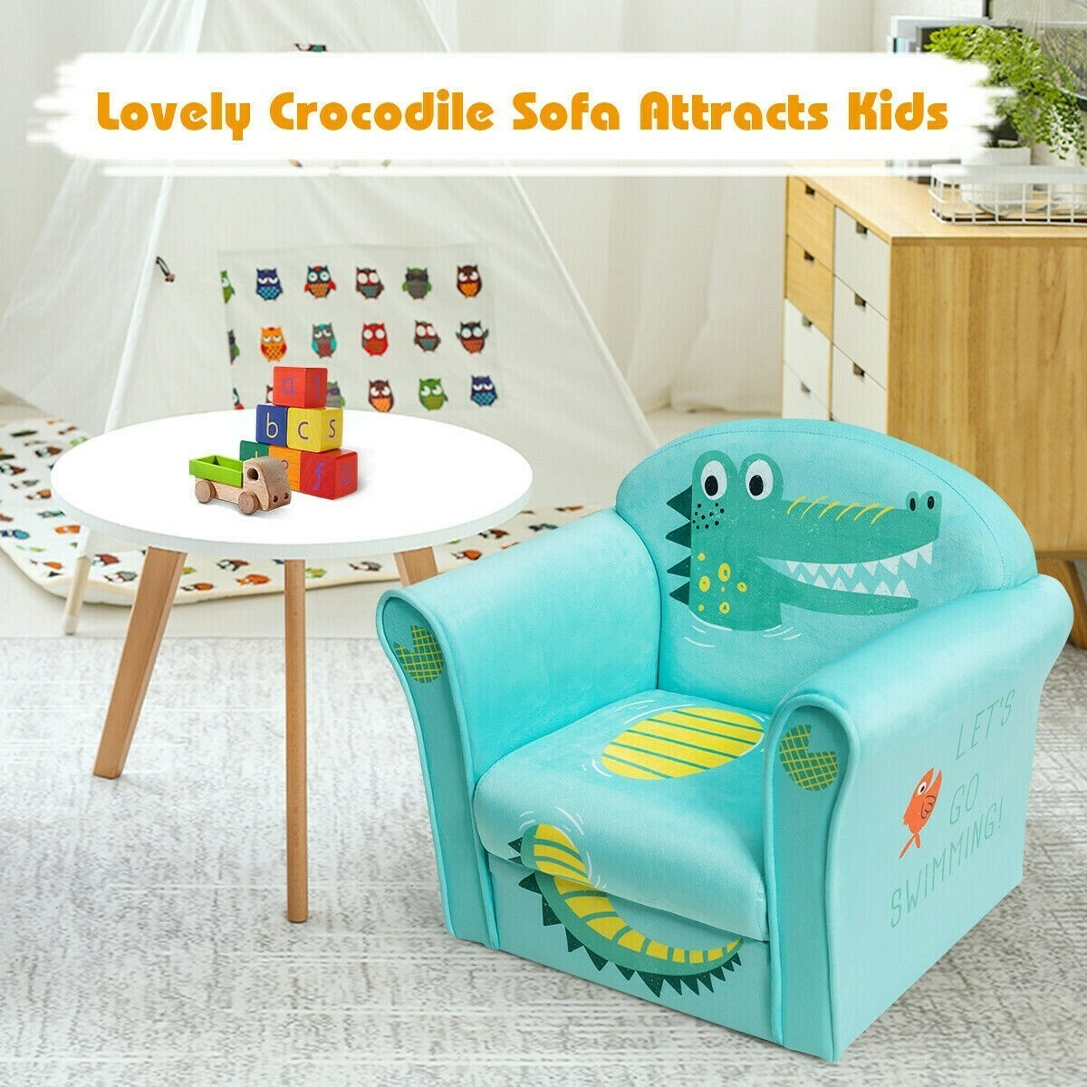 Kids Sofa Crocodile Armrest Upholstered Couch
