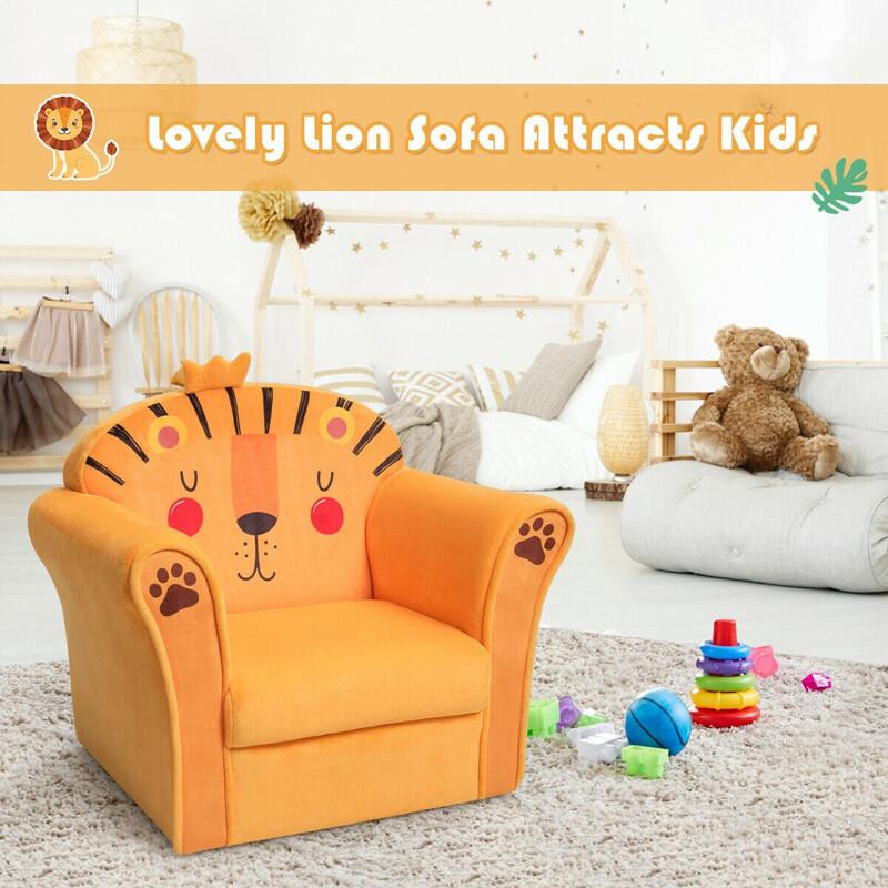 Kids Furniture Armrest Lion Upholstered Sofa