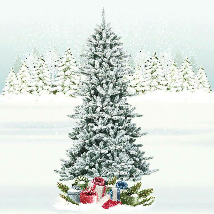 Snow Flocked Slim Artificial Christmas Fir Tree