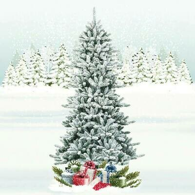 Snow Flocked Slim Artificial Christmas Fir Tree