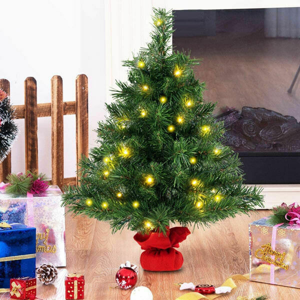 2ft Tabletop Fir Artificial Christmas Tree with LED Lights