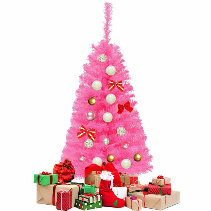 Premium Artificial Pink Christmas Mini Tree with Stand