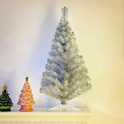 Silver Tinsel Christmas Tree with Plastic Stand