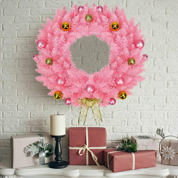 Artificial PVC Pink Christmas Wreath with Ornament Balls