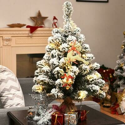 Pre-Lit Snow Flocked Tabletop Battery Operated Christmas Tree