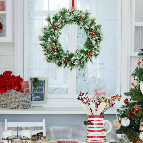 """24"""" Pre-lit Flocked Christmas Spruce Wreath with LED Lights"""