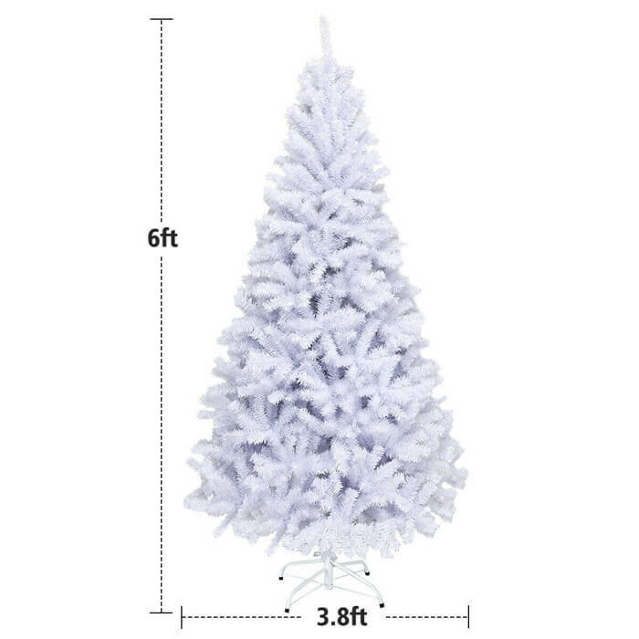 6' Hinged Artificial Christmas Tree with Metal Stand