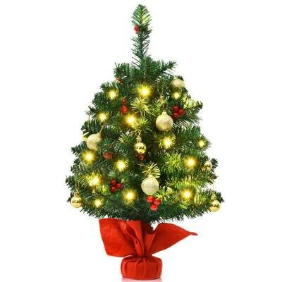 2ft Artificial Battery Operated Christmas Tree with LED Lights