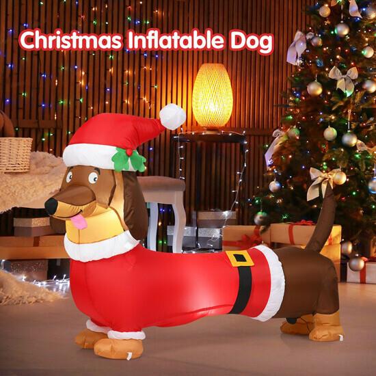 5ft Inflatable Christmas Dog with LED Lights
