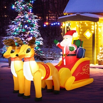 6ft Waterproof Outdoor Inflatable Santa Double Deer with Sled