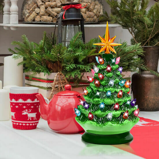 """9.5"""" Pre-lit Hand-Painted Ceramic Battery Powered Christmas Tree"""