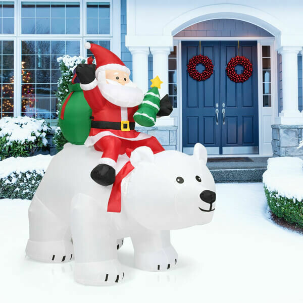 6.5ft Christmas Inflatable Santa Riding Polar Bear