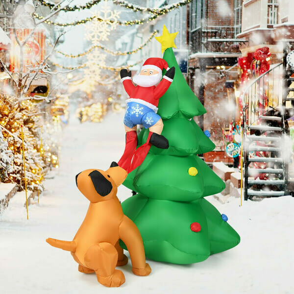 6.5ft Outdoor Inflatable Christmas Tree Santa Decor with LED Lights