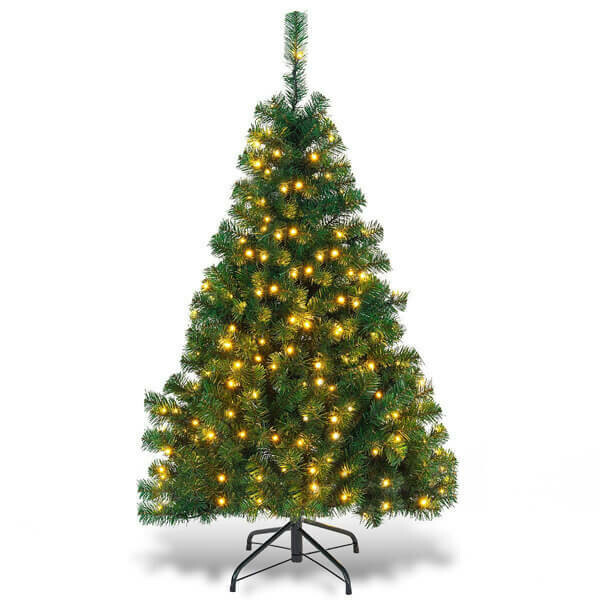 4.5ft PVC Pre-lit Artificial Hinged Christmas Tree