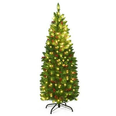 4.5ft Pre-lit Hinged Pencil Christmas Tree with Pine Cones Red Berries and 150 Lights