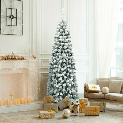 6ft Unlit Hinged Snow Flocked Artificial Pencil Christmas Tree with 500 Branch Tip