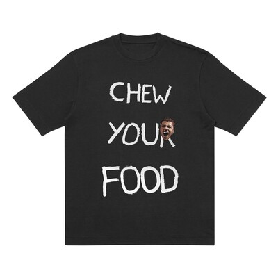 'Chew Your Food' T-shirt - Black + Embroidered Patch