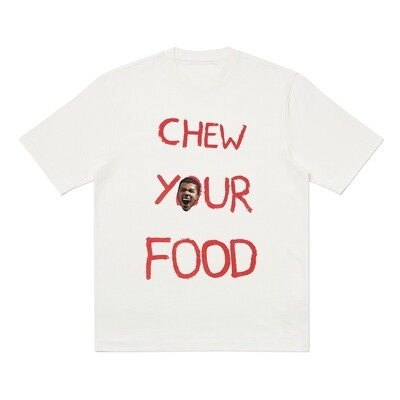 'Chew Your Food' T-shirt - White + Embroidered Patch