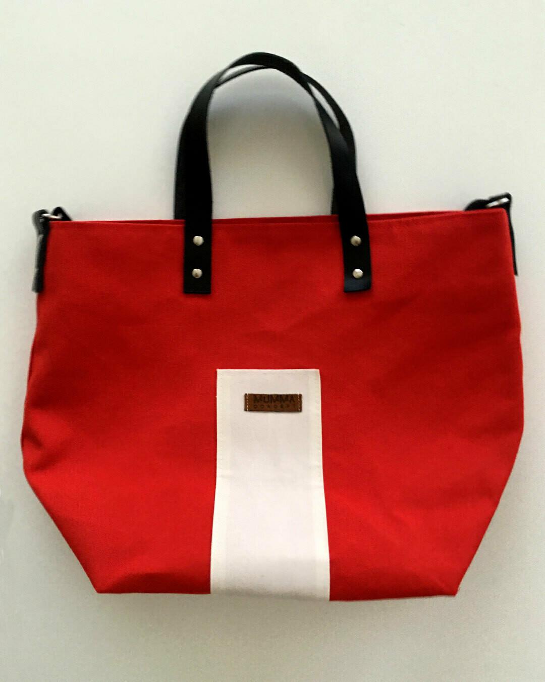 Bolso DUO rojo y blanco roto con asas de cuero