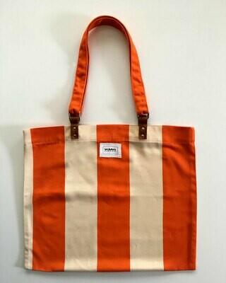 Tote Bag de franjas naranja y blanco
