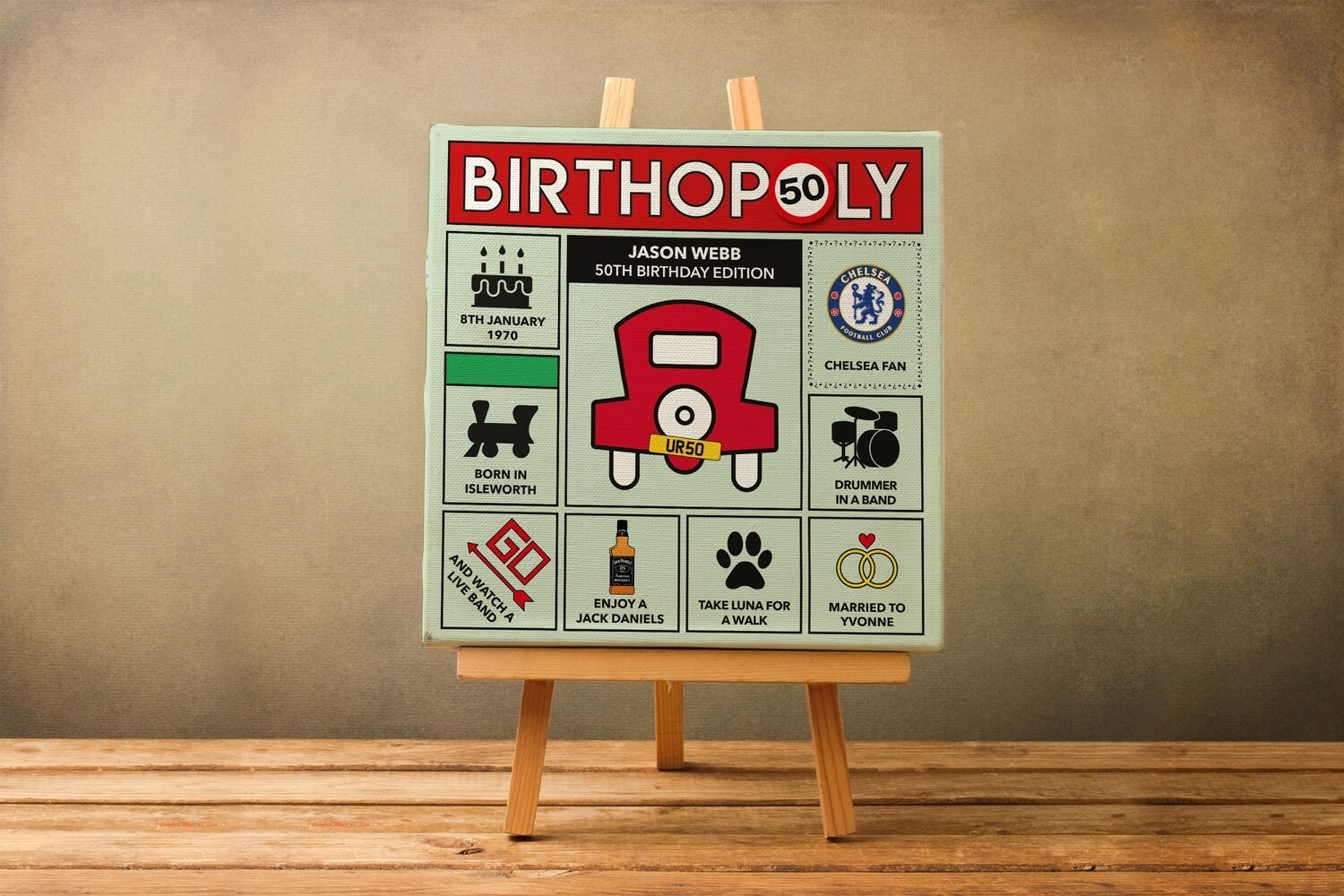 Personalised 50th Birthday Gift.  Monopoly Style Print / Canvas / Framed