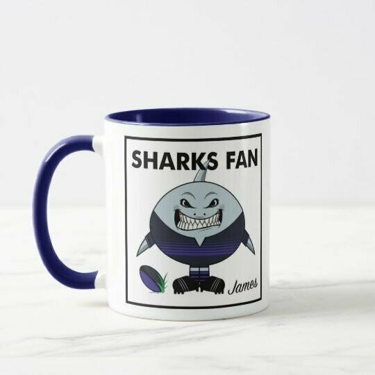 Personalised Sharks Fan Rugby Mug or Coaster