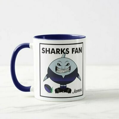Personalised Sharks Fan Rugby Mug or Coaster