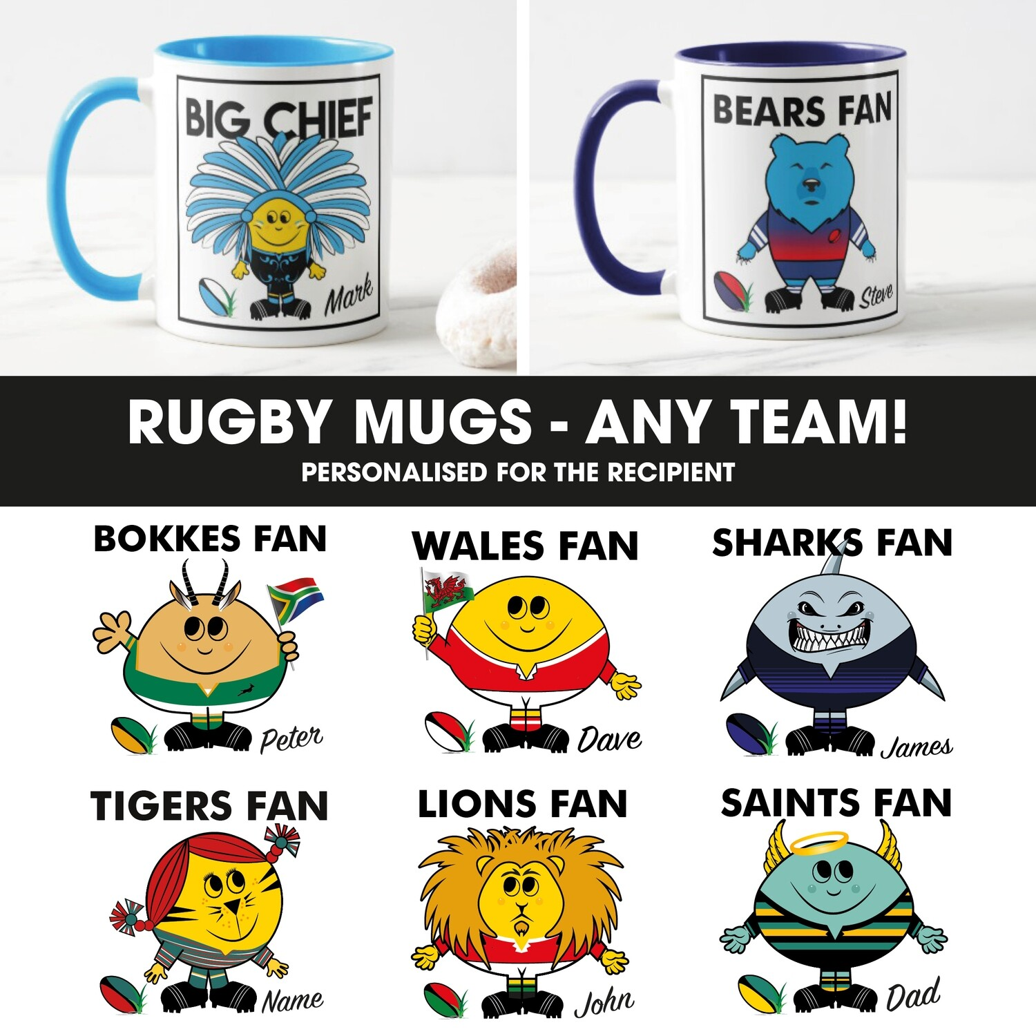 Rugby Fan Mug (Any Team)