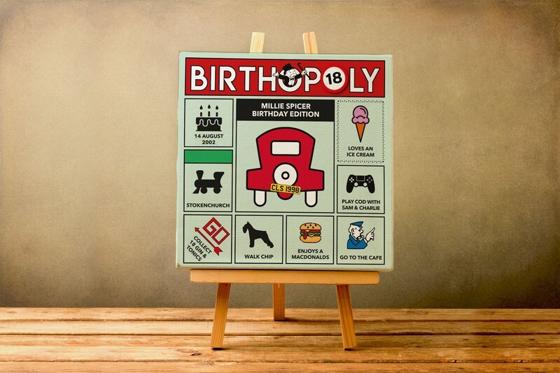Personalised Birthday Gift.  18th. 21st. 30th. 40th. 50th. 60th. 70th. 80th. 90th. 100th  Monopoly Style Print / Canvas / Framed / Card