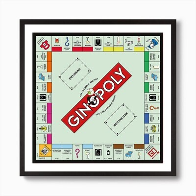 GINOPOLY Poster. Standard or Personalised. Framed or Unframed. Gin Gift. Gin Fanatic. Gin Lover. Gin Wall Art.