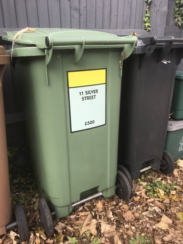 Personalised Monopoly Style Bin Stickers