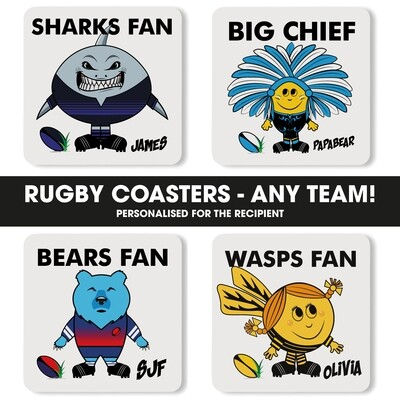 Personalised Ruby Fan Coaster (Any Team)