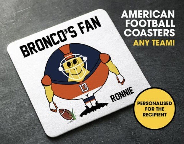 Personalsied American Football Coasters - ANY TEAM