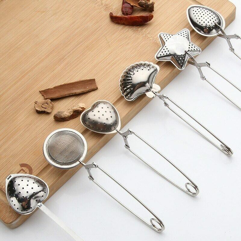 Stainless Steel Tea Strainer / Tea Infuser / Reusable Tea Bag. Heart Shape. Shell Shape