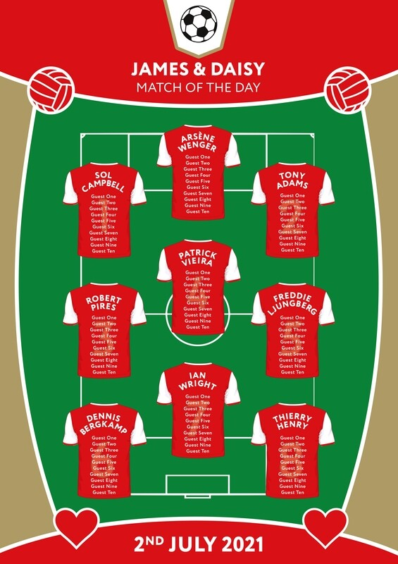 Football Themed Table Plan, Table Numbers and Place Cards