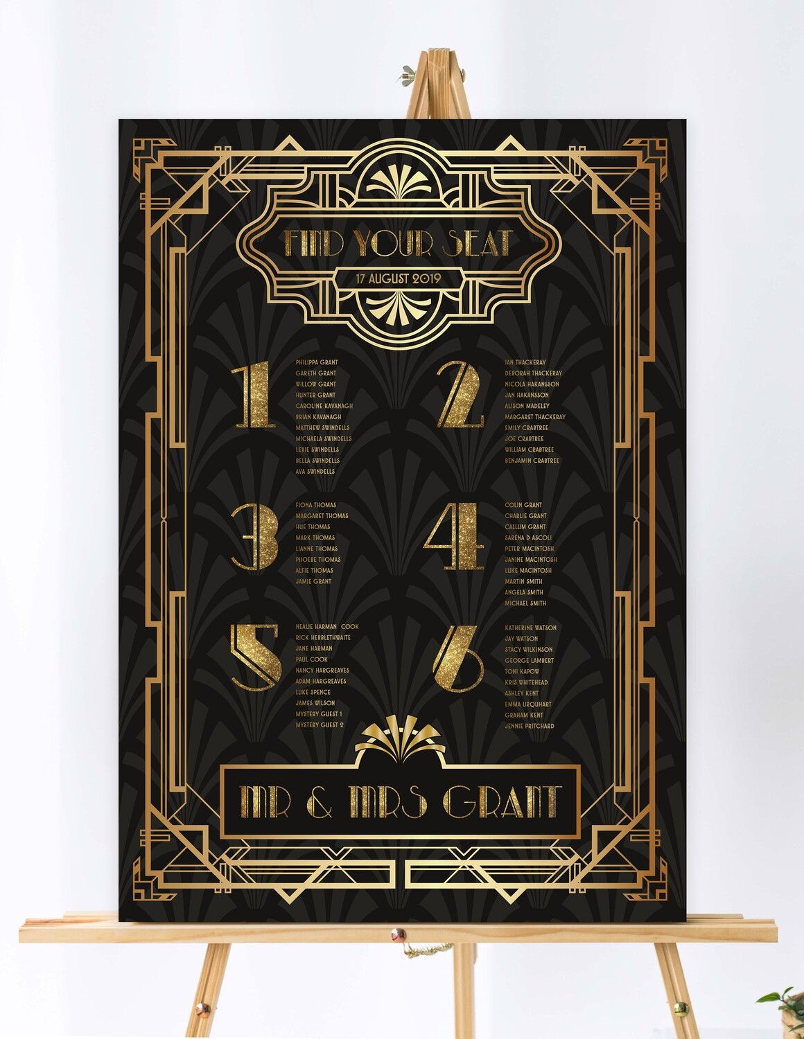 Art Deco Themed Table Plan, Table Numbers and Place Cards