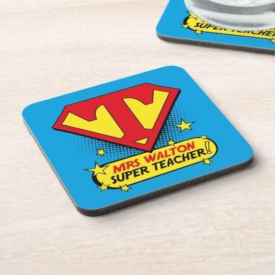 Personalised Super Teacher Coaster