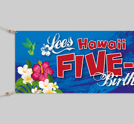 Personalised Hawaii 50 Birthday Banner - 6ft x 2ft