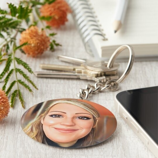 Personalised Character Keyrings, Badges & Cufflinks (with or without words)